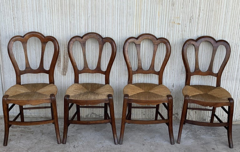 20th Set of One Bench and Four Victorian Chairs, Wood and Rattan For Sale 4