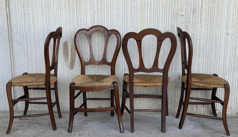 20th Set of One Bench and Four Victorian Chairs, Wood and Rattan For Sale 5