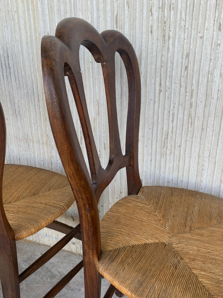 20th Set of One Bench and Four Victorian Chairs, Wood and Rattan For Sale 9