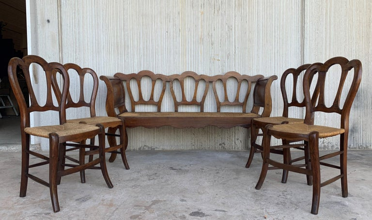 European 20th Set of One Bench and Four Victorian Chairs, Wood and Rattan For Sale