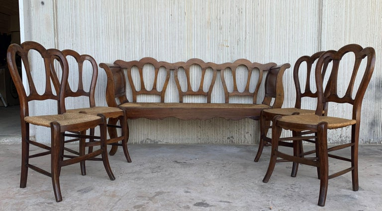 19th Century 20th Set of One Bench and Four Victorian Chairs, Wood and Rattan For Sale