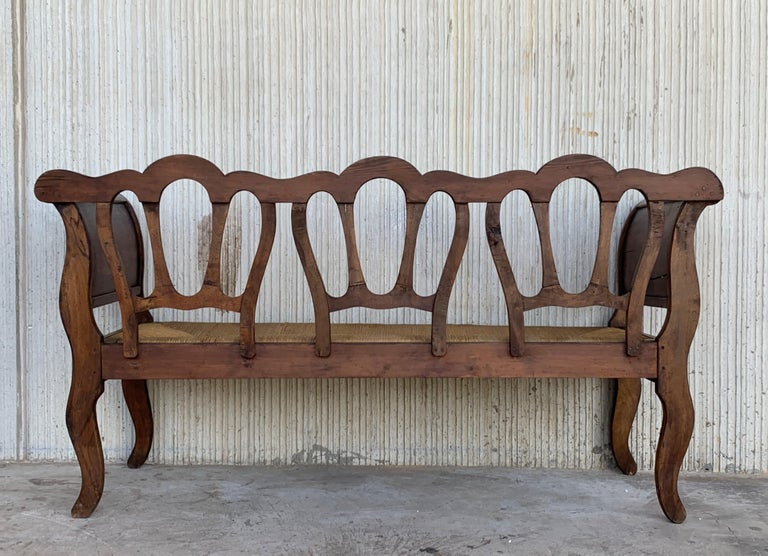 20th Set of One Bench and Four Victorian Chairs, Wood and Rattan For Sale 1