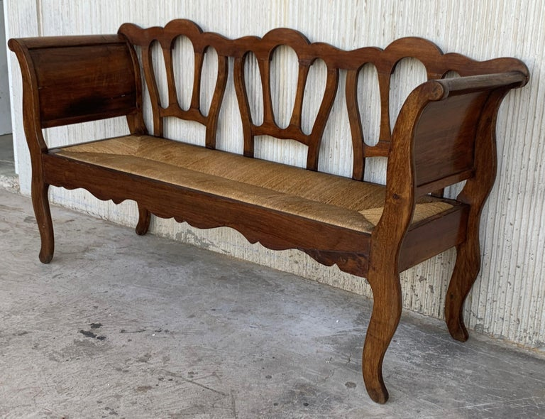 20th Set of One Bench and Four Victorian Chairs, Wood and Rattan For Sale 2
