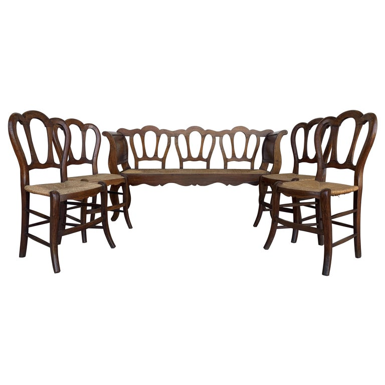 20th Set of One Bench and Four Victorian Chairs, Wood and Rattan For Sale