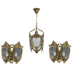 20th Century Set of Pair French Bronze and Glass Sconces with Ceiling Lamp