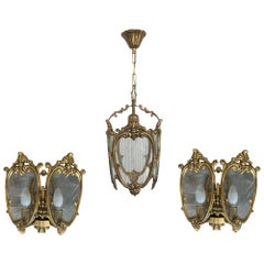 20th Set of Pair French Bronze and Glass Sconces with Ceiling Lamp