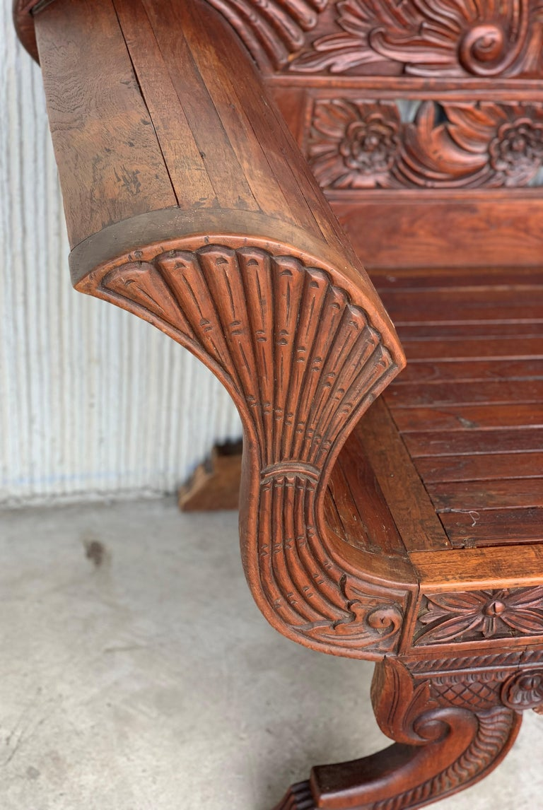 20th Century Spanish Carved Back & Legs Garden Bench or Settee with Curved Arms For Sale 1
