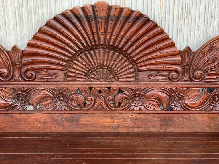 20th Century Spanish Carved Back & Legs Garden Bench or Settee with Curved Arms For Sale 2