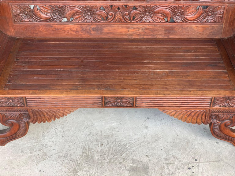20th Century Spanish Carved Back & Legs Garden Bench or Settee with Curved Arms For Sale 3