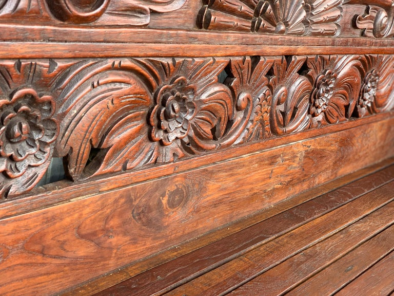 20th Century Spanish Carved Back & Legs Garden Bench or Settee with Curved Arms For Sale 5