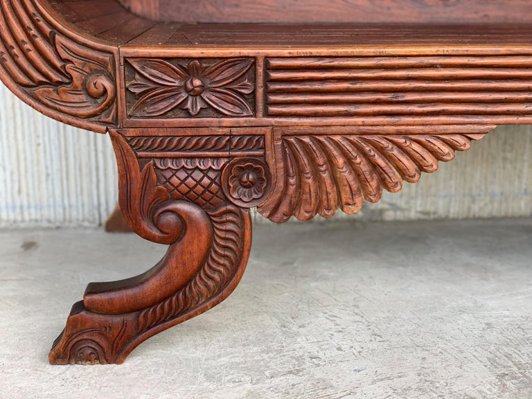 20th Century Spanish Carved Back & Legs Garden Bench or Settee with Curved Arms For Sale 6