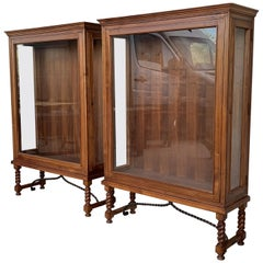 Spanish Colonial Pair of Display Cabinets or Vitrines with Side Opening