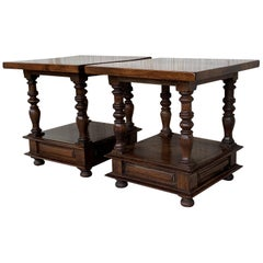 Spanish Colonial Pair of Square Solid Walnut Coffee Tables with Low Shelve