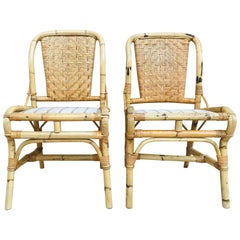 20th Spanish Midcentury Pair of Bamboo Chairs with Upholstered Seat