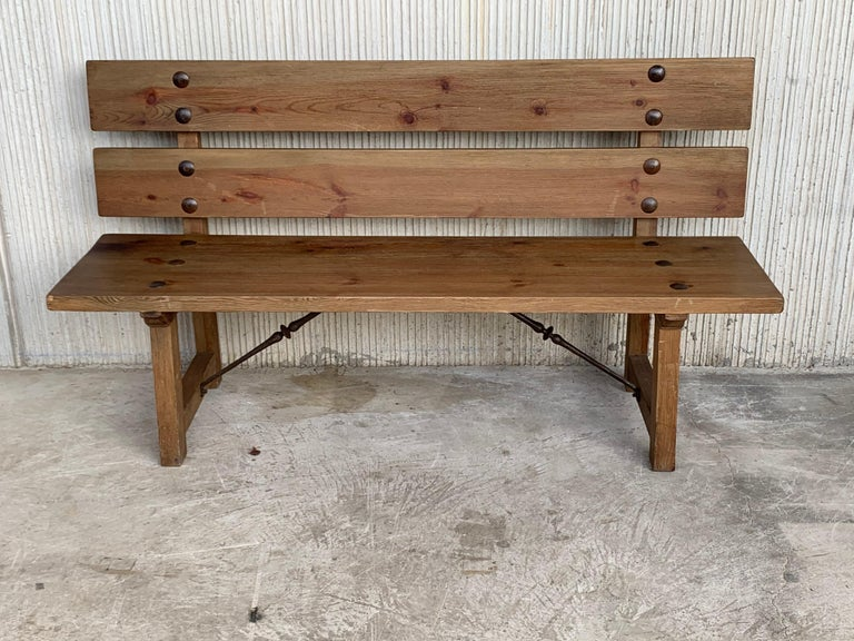 20th Spanish Park or Garden Bench with Wood Slabs & Iron Stretcher