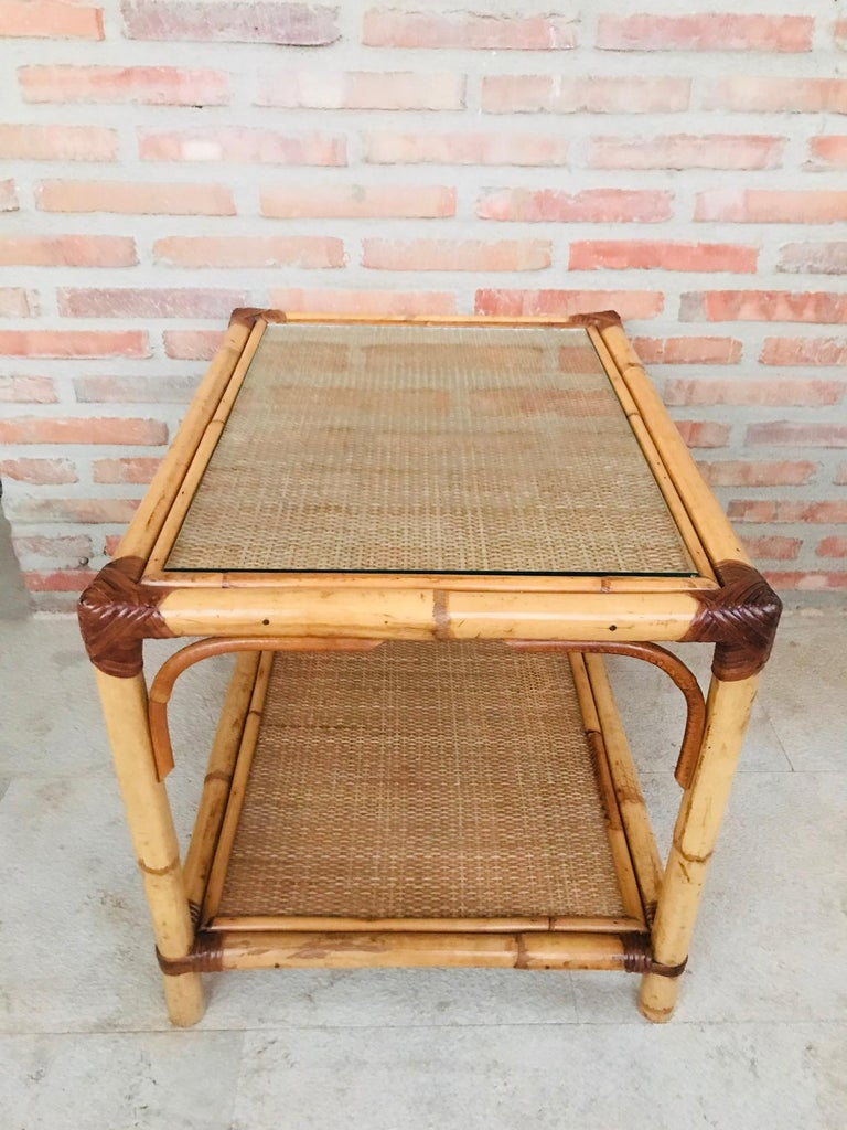 Mid-Century Modern 20th Century Spanish Rectangular Bamboo Coffee Table with Glass Top For Sale