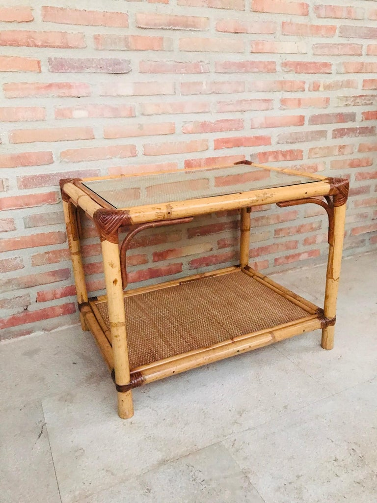 20th Century Spanish Rectangular Bamboo Coffee Table with Glass Top In Good Condition For Sale In Miami, FL