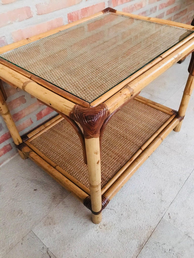 20th Century Spanish Rectangular Bamboo Coffee Table with Glass Top For Sale 1
