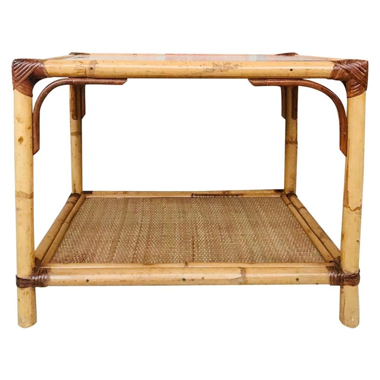 20th Century Spanish Rectangular Bamboo Coffee Table with Glass Top For Sale
