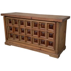 20th Spanish Trunk, Blanket Chest with Raised Wooden Panels and Iron Hardware