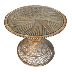 20th Spanish Turned Round Bamboo Coffee Table with Glass Top