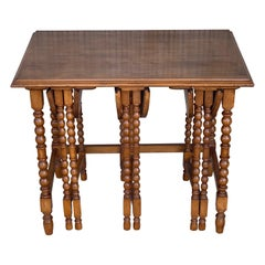 20th Spanish Walnut Nesting and Folding Tables with Turned Legs
