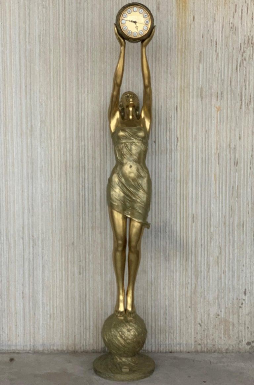 20th century Vidal Grau real size Art Noveau gilt bronze woman sculpture, Signed on the ball base.