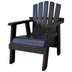 20th Century Adirondack Black Painted Patio Chair
