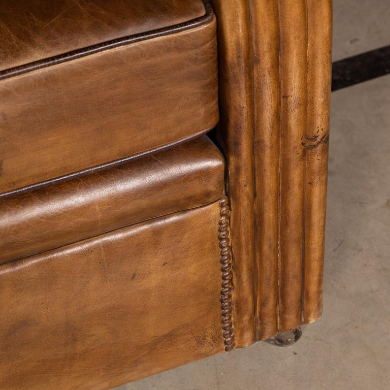 20th Century Art Deco Pair of Leather Tub Chairs and Sofa, circa 1920 For Sale 7