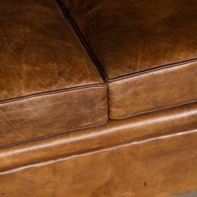 20th Century Art Deco Pair of Leather Tub Chairs and Sofa, circa 1920 For Sale 8