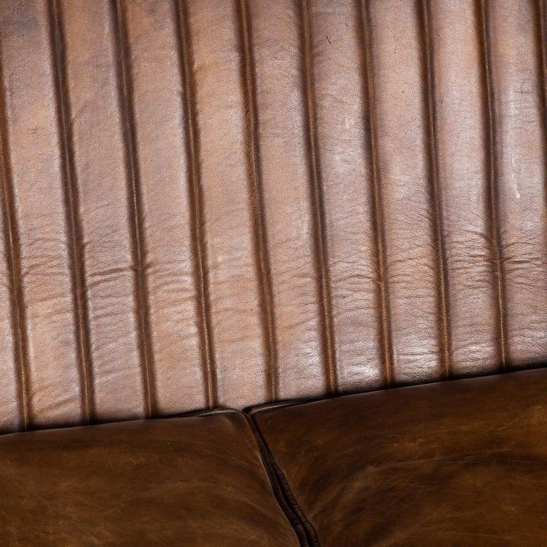 20th Century Art Deco Pair of Leather Tub Chairs and Sofa, circa 1920 For Sale 9