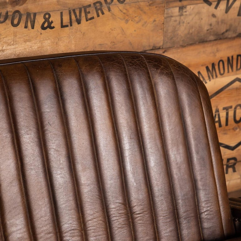 20th Century Art Deco Pair of Leather Tub Chairs and Sofa, circa 1920 For Sale 10