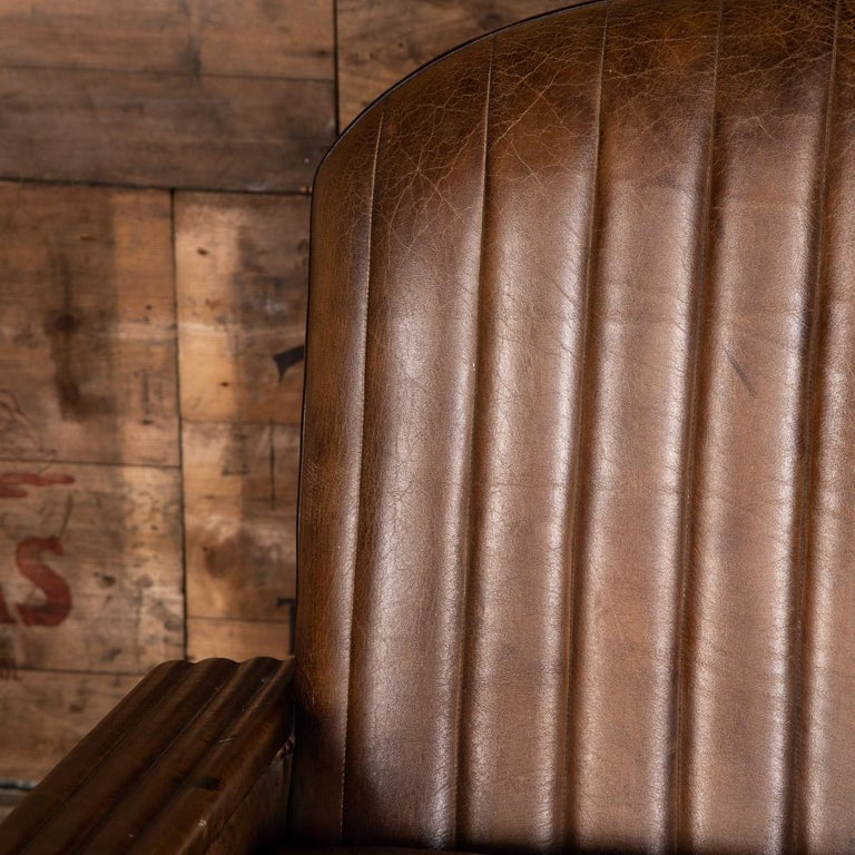 20th Century Art Deco Pair of Leather Tub Chairs and Sofa, circa 1920 For Sale 15