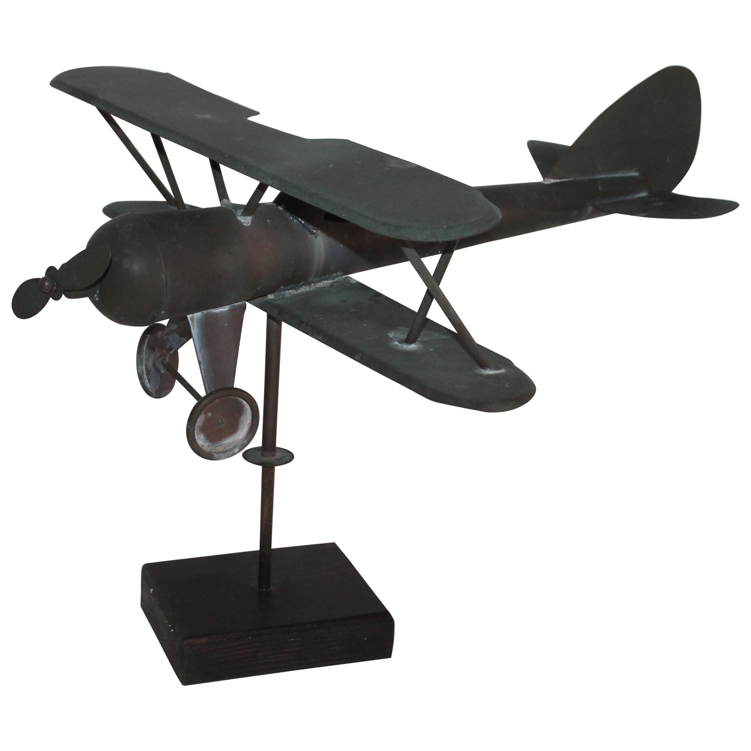 20th Century Patinaed Copper Airplane Weather Vane, Rare