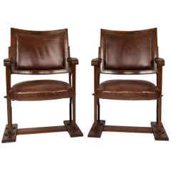 20th Century Edwardian Mahogany and Leather Cinema / Theatre Chairs, circa 1900