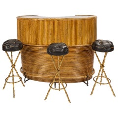 20th Century French Bamboo Cocktail Bar & Bar Stools by Jacques Adnet circa 1950