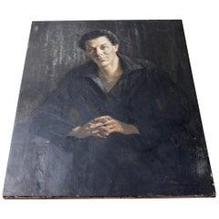 20th Century French School Oil on Canvas Portrait of a Gentleman circa 1935-1955