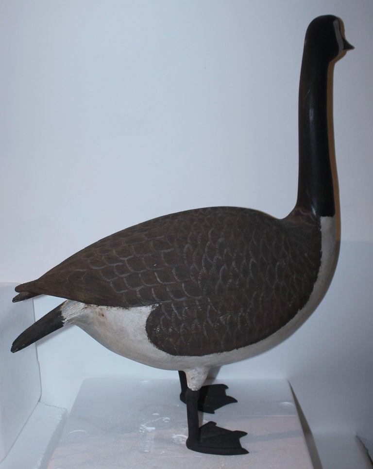 Folk Art 20th C Hand Carved & Painted Canadian Goose For Sale