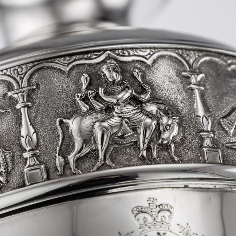 20th Century Indian Solid Silver 28th Regiment Ewer, P.Orr & Sons, circa 1900 For Sale 11