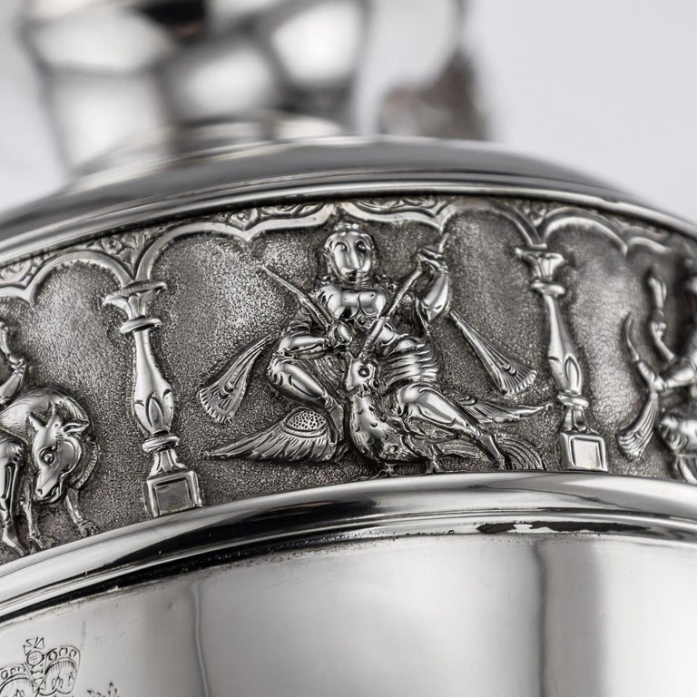 20th Century Indian Solid Silver 28th Regiment Ewer, P.Orr & Sons, circa 1900 For Sale 12