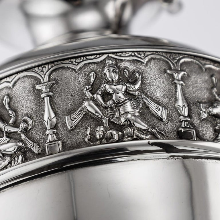 20th Century Indian Solid Silver 28th Regiment Ewer, P.Orr & Sons, circa 1900 For Sale 13