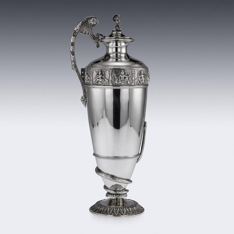 20th Century Indian Solid Silver 28th Regiment Ewer, P.Orr & Sons, circa 1900 For Sale 1