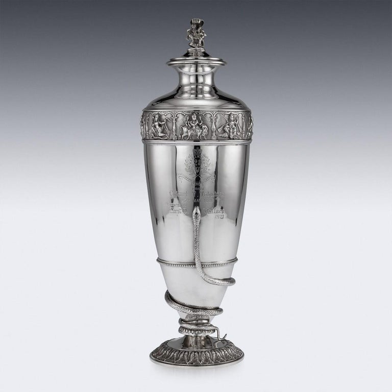 20th Century Indian Solid Silver 28th Regiment Ewer, P.Orr & Sons, circa 1900 For Sale 2
