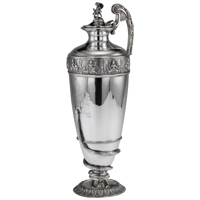 20th Century Indian Solid Silver 28th Regiment Ewer, P.Orr & Sons, circa 1900 For Sale