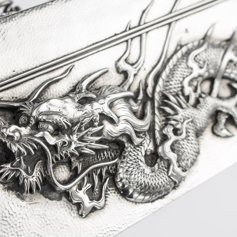 20thC Japanese Meiji Solid Silver Dragon Cigar Box c.1900 For Sale 6