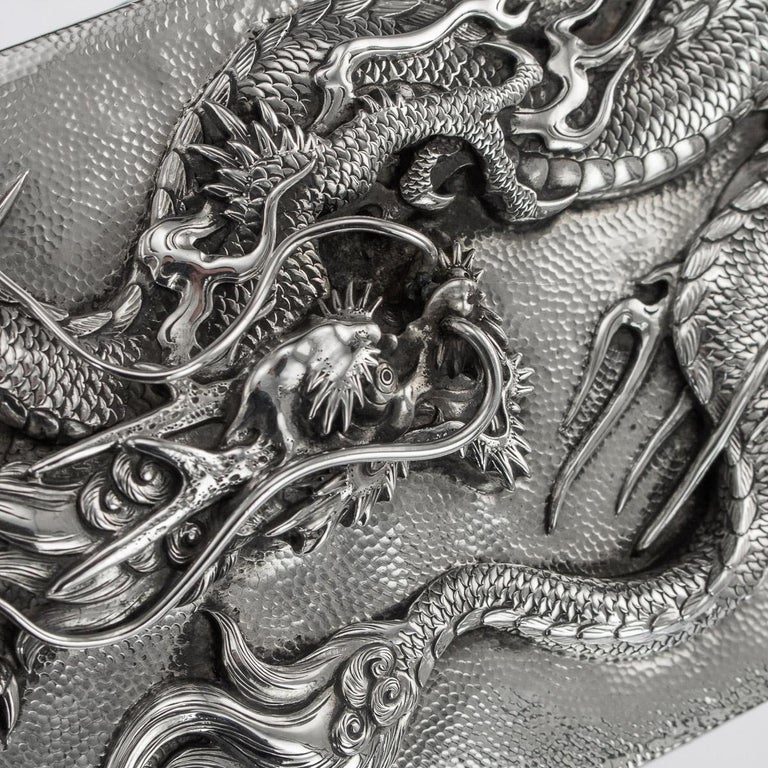 20thC Japanese Meiji Solid Silver Dragon Cigar Box c.1900 For Sale 7