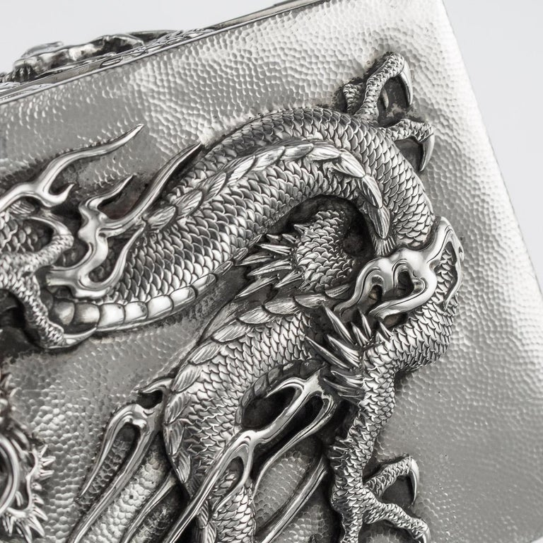 20thC Japanese Meiji Solid Silver Dragon Cigar Box c.1900 For Sale 8