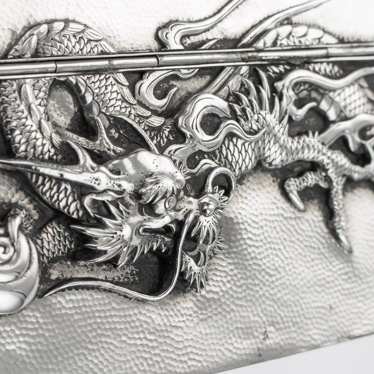 20thC Japanese Meiji Solid Silver Dragon Cigar Box c.1900 For Sale 9