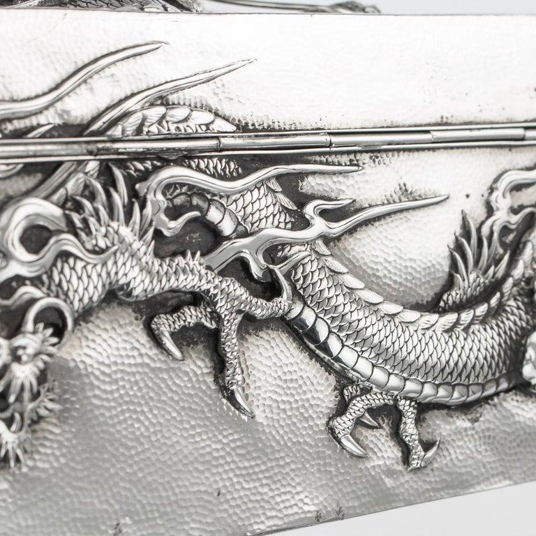 20thC Japanese Meiji Solid Silver Dragon Cigar Box c.1900 For Sale 10
