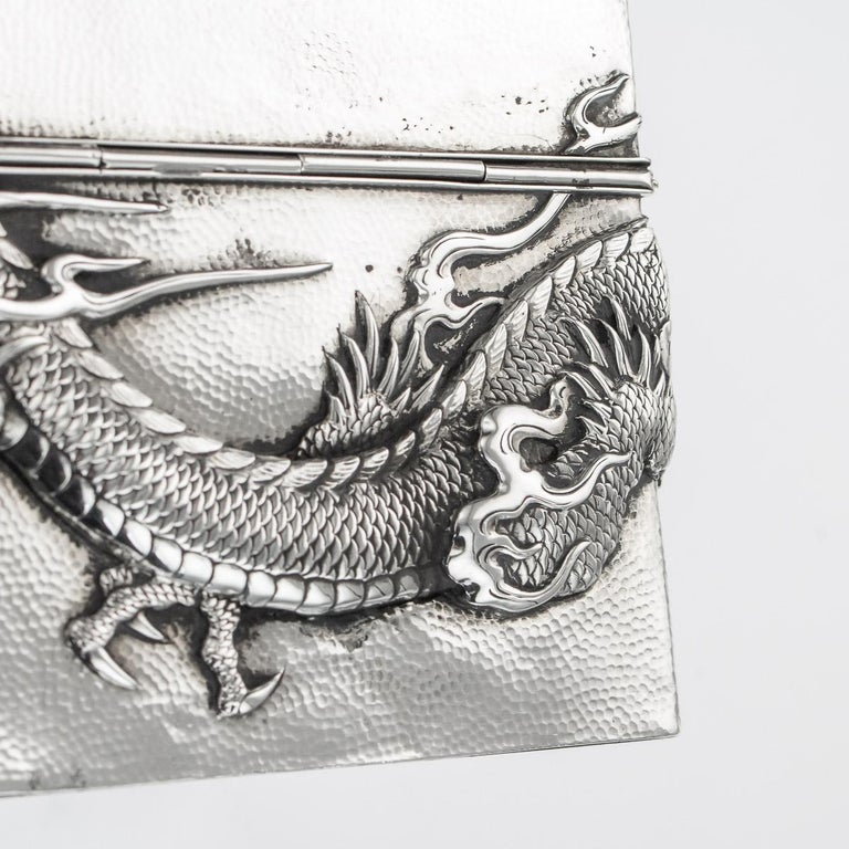 20thC Japanese Meiji Solid Silver Dragon Cigar Box c.1900 For Sale 11